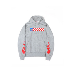 hot flame hooded sweat shirts-grey-