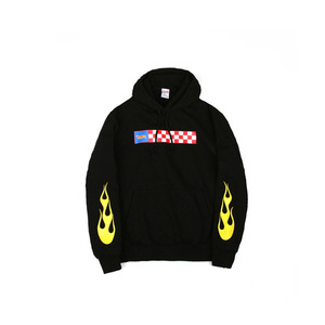 hot flame hooded sweat shirts-black-